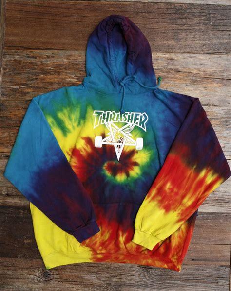 thrasher tie dye hoody and shel