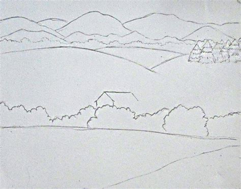 Landscape Pictures Easy To Draw Color Pencil Landscape Drawing