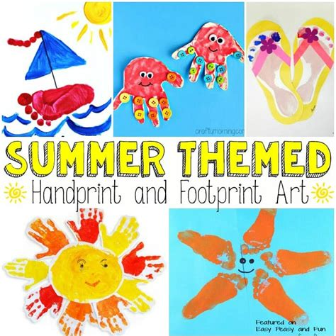 and footprint crafts summer themed handprint and footprint easy peasy and