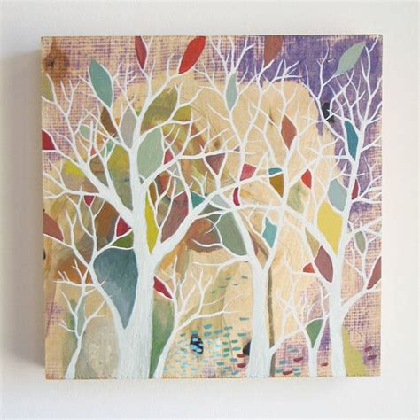 acrylic paint used on wood by trees original acrylic painting on wood