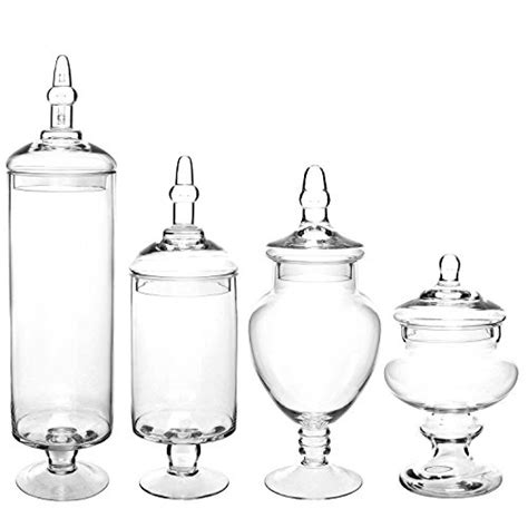 large glass containers for buffet set of 4 large classic clear glass lid apothecary jars buffet wedding centerpiece