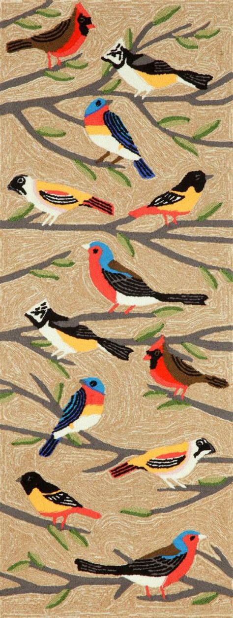 Rugs With Birds by Trans Frontporch Birds Multi 1440 44 Area Rug Free
