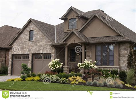 stucco stone house pretty garden stock image image