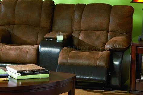 brown specially treated microfiber sectional w recliner seat