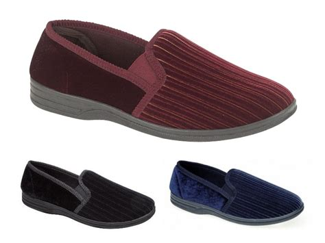 mens slippers wide fit mens luxury velour slippers wide fit soft comfort shoes