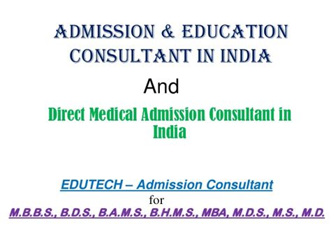 Mba Admission Consulting In India by Admission Education Consultant In India