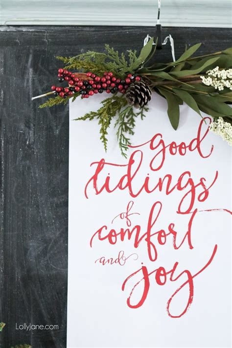 christmas song comfort and joy christmas vignette with free printable lolly jane