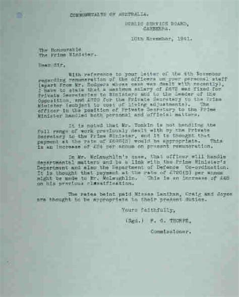 Release Letter Curtin Curtin October 1941 July 1945