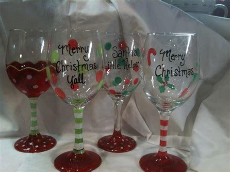 christmas wine glass hand painted custom order by kygirlshop