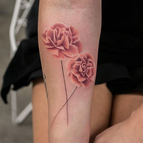 carnation and rose tattoos carnations by joicewang nyc