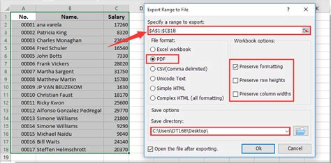 how to save selection or entire workbook as pdf in excel