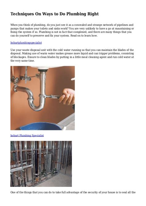 Do Right Plumbing by Techniques On Ways To Do Plumbing Right