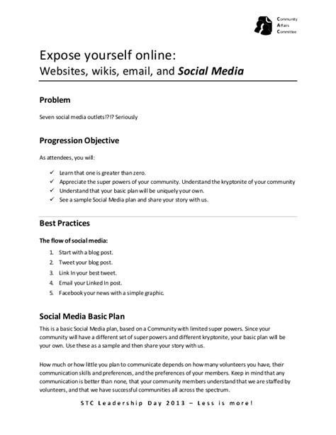 publicity plan template stc13ld communications publicity social media basic plan