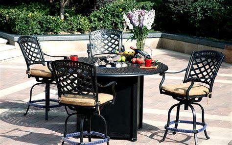 Patio Furniture Dining Set Cast Aluminum 60 Quot Round Counter Patio Pit Table Sets