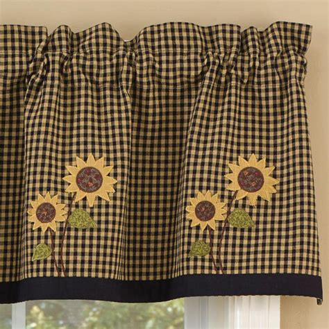 Brown Valance Curtains Sunflower Check Lined Valance Primitive Home Decors