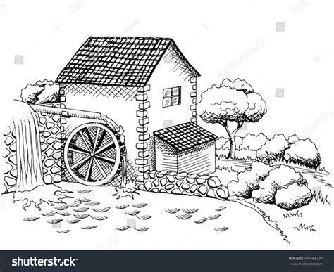 water mill coloring page water mill graphic art black white vectores en stock
