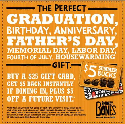 Smokey Bones Gift Card - smokey bones gift card deal bogo coupon who said nothing in life is free