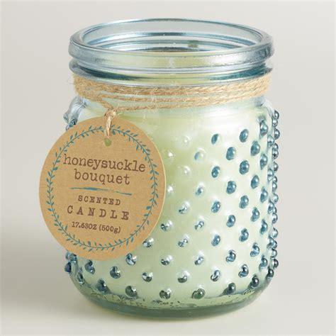 Blue Jar Candle blue honeysuckle bouquet glass hobnail jar candle world