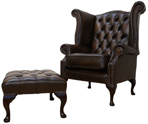 leather wingback chair with ottoman chesterfield queen anne high back wing chair brown leather