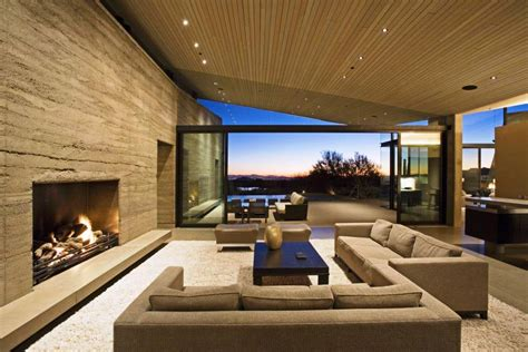 contemporary living room with mirror the