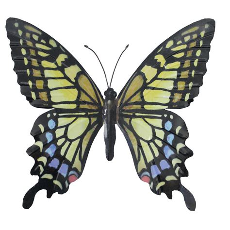 large metal butterfly garden wall in yellow blue and