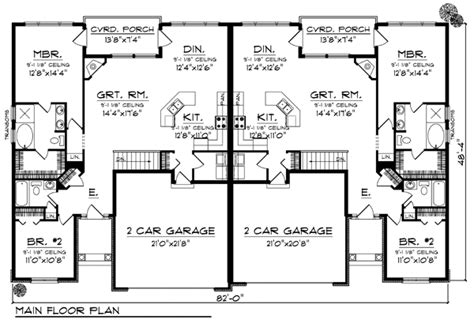 Duplex With Garage Plans by Duplex Plan Chp 33733 Duplex Plans House