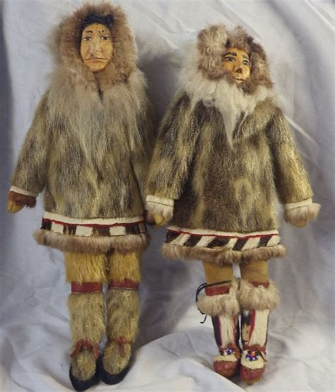 Eskimo Soapstone Carvings Two Vintage Inuit Eskimo Dolls With Traditional Fur By