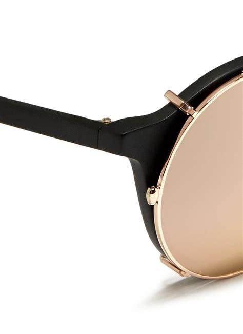Matahari Wedges sunday somewhere matahari clip on wire mirror sunglasses in black for lyst