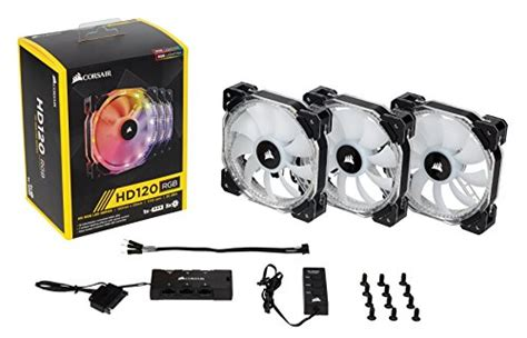 corsair hd120 rgb 54 4 cfm 120mm fan corsair hd120 rgb 3 pack w controller 54 4 cfm 120mm