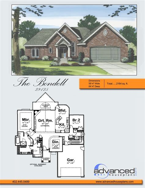Advanced House Plans by Bondell Traditional Ranch By Advanced House Plans