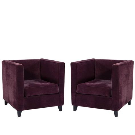 Plush Purple Chair by Pair Of Cube Lounge Chairs In Plush Purple Velvet For Sale