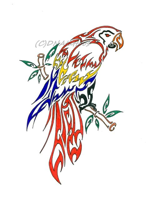parrot tribal by weedenstein on deviantart