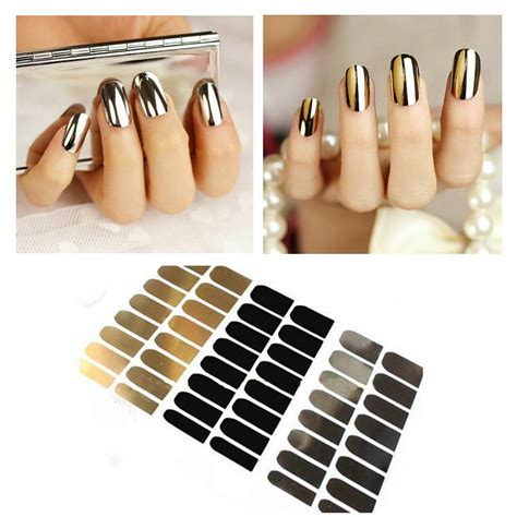 Gold Nail Sticker Decorations 3pcs nail sticker decoration gold black silver nail foil wraps patch decals tools