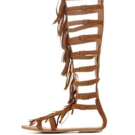 gladiator sandals russe cognac knee high fringe gladiator sandals from russe