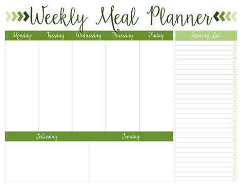 Printable Weekly Meal Planners Free Live Craft Eat Weekly Meal Planner Template