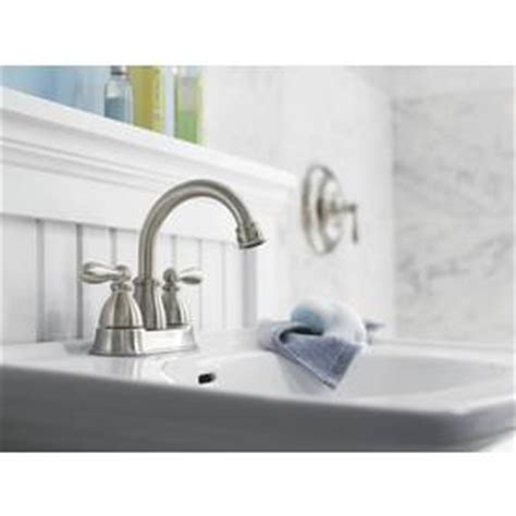 moen caldwell bathroom faucet brushed nickel shop moen caldwell spot resist brushed nickel 2 handle 4