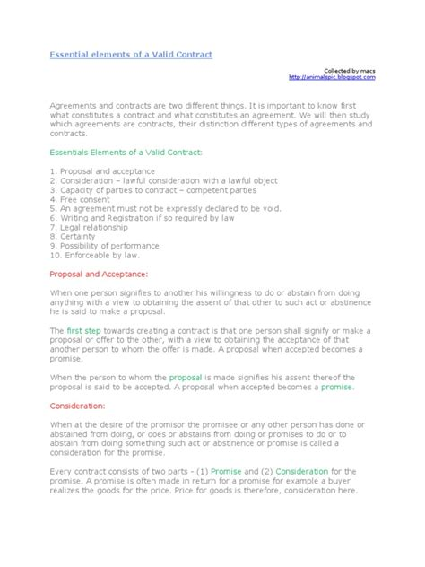 valid contract essential elements essential elements of a valid contract consideration