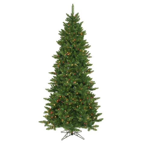 pre lit multi color led slim christmas tree 8 5 ft slim tree multi color lights pre lit tapered tips ebay