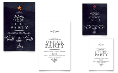 Office Holiday Party Note Card Template Word Publisher Office Invite Template