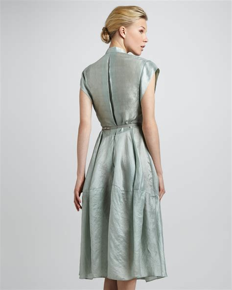 donna glass dress donna karan sea glass belted silk dress in blue lyst