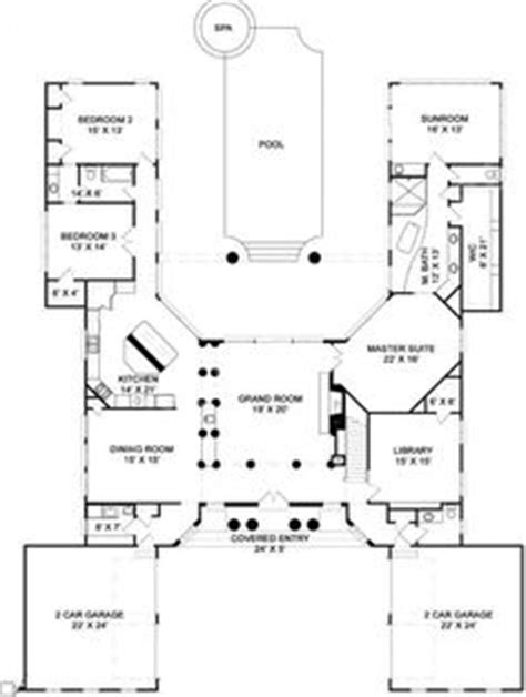 floor plan with courtyard in middle of the house h shaped house plans with pool in the middle pg3