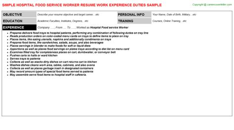 Description For Food Service Worker by Hospital Food Service Worker Title Docs