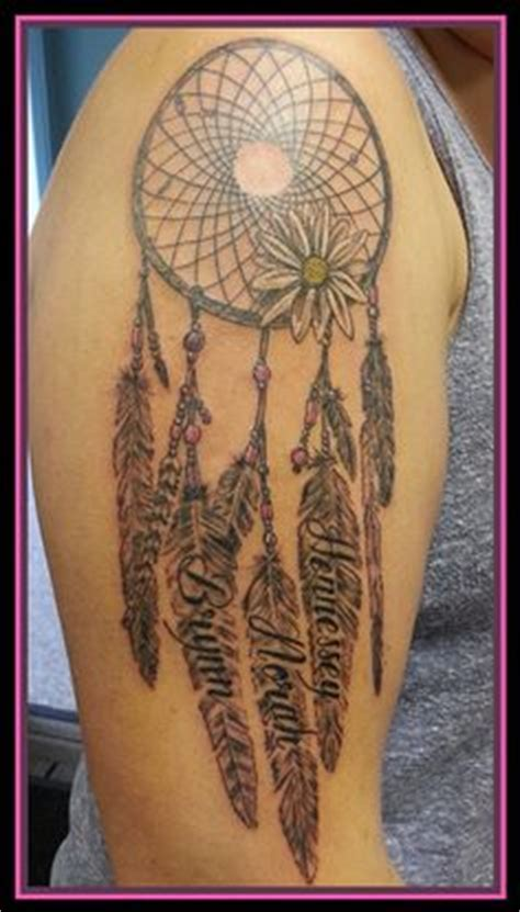 dream catcher tattoo with names in feathers 1000 images about tattoos on pinterest dreamcatcher