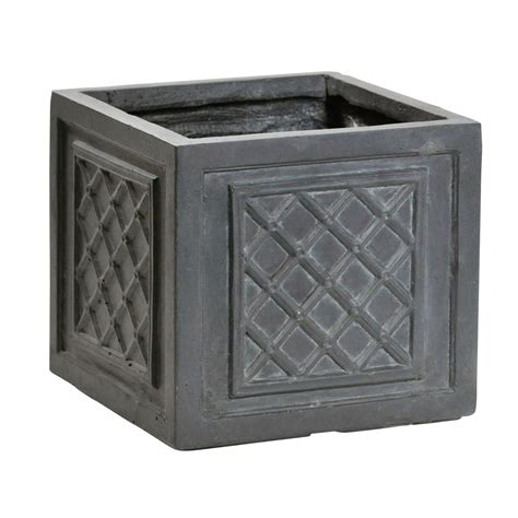B Q Garden Pots Planters by Loxley Square Grey Planter H 350mm Departments Diy At B Q