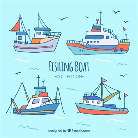 fishing boat vector four hand drawn fishing boats vector free download