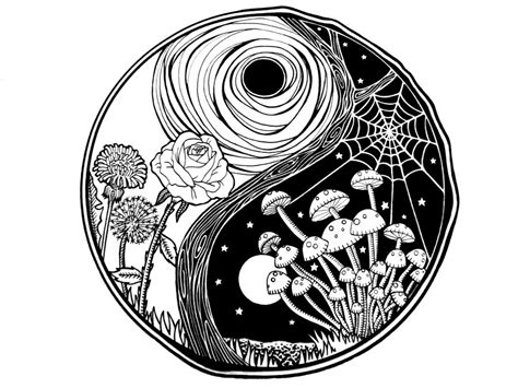 trippy yin yang coloring pages ying yang by subliminaldrain on deviantart in my head