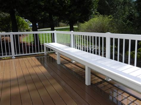 deck with built in bench low maintenance built in deck bench using azek and
