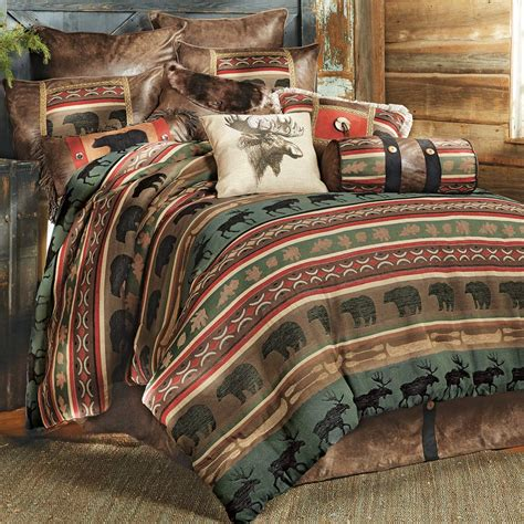 moose comforter set rustic bedding queen size yukon river bear moose bed