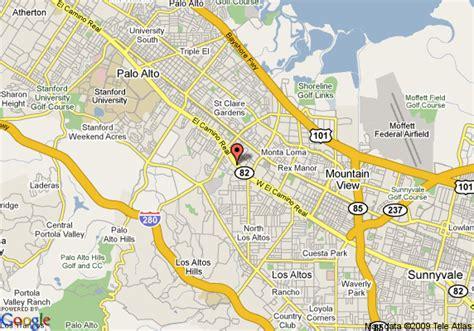 where is palo alto california on a map map of courtyard by marriott palo alto los altos