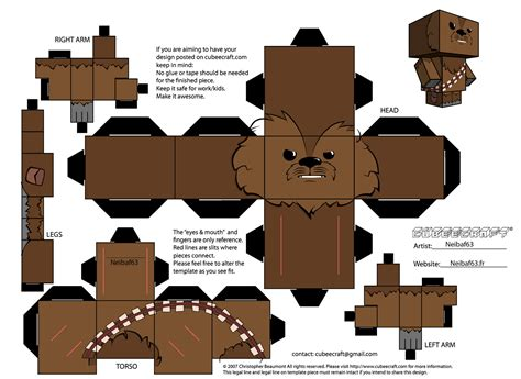 Wars Papercraft Templates - chewbacca template cubeecraft by neibaf63 on deviantart